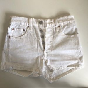 Levi's 501 white high waisted shorts